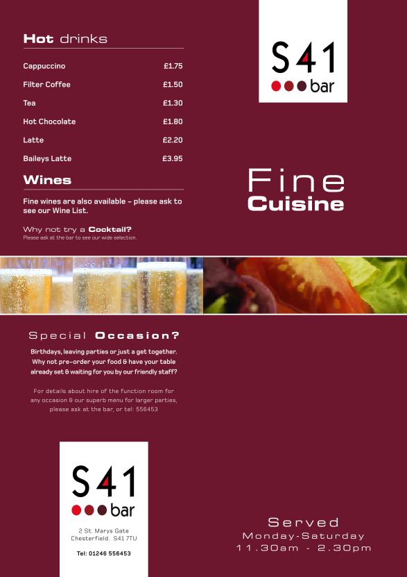 S41 bar table menu design the bimbo blog for Table 9 menu
